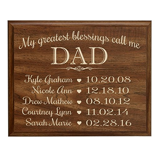 LifeSong Milestones Personalized Gifts for dad with Family Established Year Sign with Children's Names and Birth Date to Remember My Greatest Blessings Call me dad Wall Plaque (9x12, - Date Plaque Birth