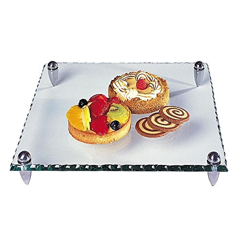 Badash Mercury Square 9 Inches Glass Serving Tray with Scalloped Edge
