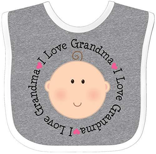 - Inktastic - I Love Grandma baby shower gift Baby Bib Heather/White 1095b