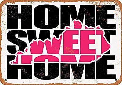 """Retro Exterior Wall Decorative Metal Tin Signs 16""""x12""""-Kentucky Pink,Easy to Install-Fashion Novelty Fun Sign inches"""