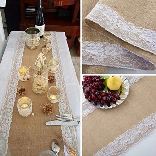 AGONG Fashion Hessian Burlap Ribbon Lace Table Runner Rustic Wedding Party Home Decoration Centre Table Runner