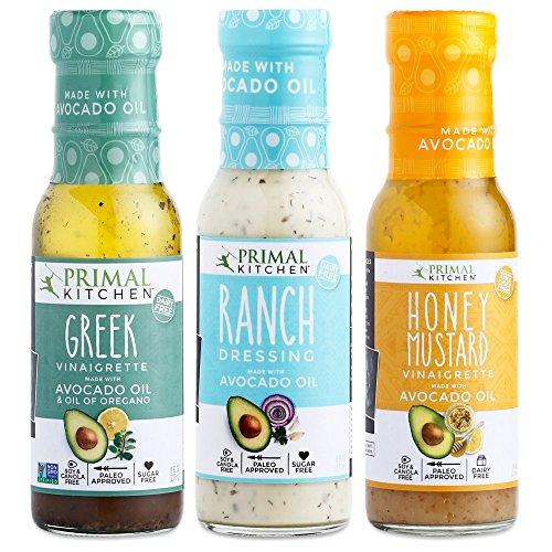 Primal Kitchen – Ranch Dressing, Greek and Honey Mustard Vinaigrettes/Marinades Salad Dressings Variety 3–Pack, Made with Avocado Oil & Organic Ingredients – Vegan & Paleo Approved (8 oz)