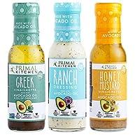 Primal Kitchen - Ranch Dressing, Greek and Honey Mustard Vinaigrettes/Marinades Salad Dressings Variety 3-Pack, Made with Avocado Oil & Organic Ingredients - Vegan & Paleo Approved (8 oz)