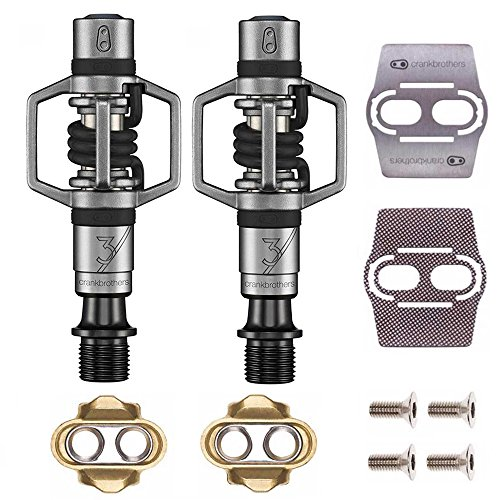 Mountain 3 Pedals Bike (Crankbrothers Eggbeater 3 Pedals (Black) with Premium Cleats and Bike Shoe Shields Set)