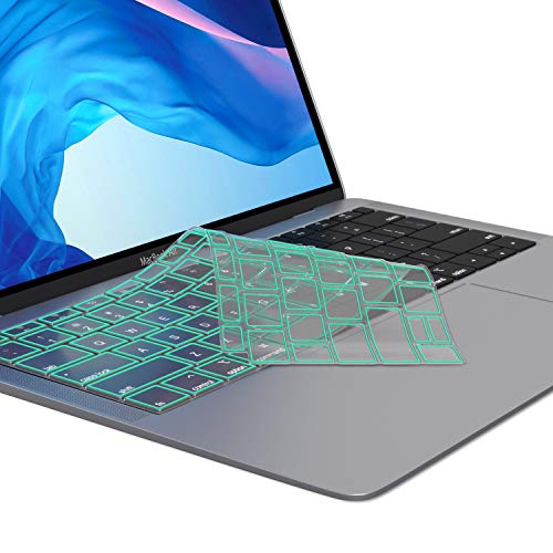 Kuzy - MacBook Air Keyboard Cover, 13 inch 2019 2018 New A1932 with Touch ID and Retina Display Premium Ultra Thin TPU Protective Skin Protector - Mint