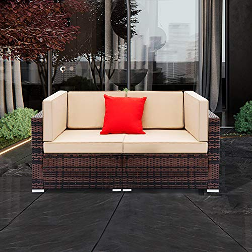 Tenozek Patio Loveseat, 2 Piece Outdoor Furniture Sectional Set, All-Weather Brown PE Wicker for...