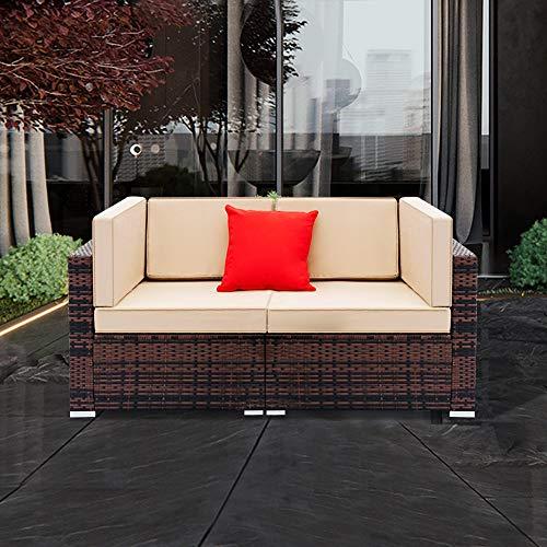 Tenozek Patio Loveseat, 2 Piece Outdoor Furniture Sectional Set, All-Weather Brown PE Wicker...