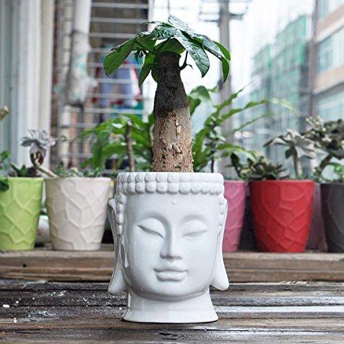 Buddha Head Ceramic Flower Pots & Planters, White