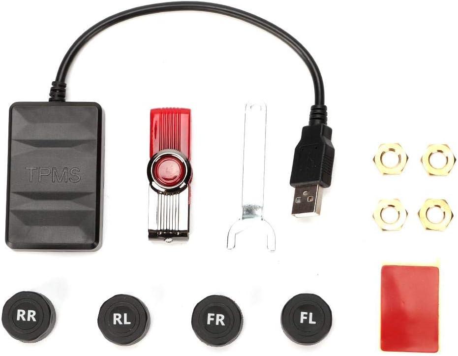 Yctze Alarme de pression des pneus syst/ème de surveillance de la pression des pneus USB de voiture Alarme de surveillance TPMS avec capteur externe