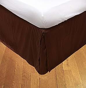 Algodón egipcio ropa de cama de 350hilos 1pieza bedskirt 30cm Longitud de la gota UK rey Chocolate rayas 100% algodón 350TC