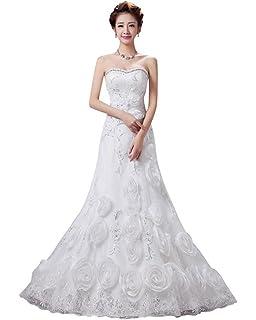 Drasawee Womens Long Flower Strapless Mermaid Prom Party Wedding Dress Elegant Rhinestone Formal Evening Gowns