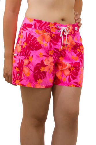 Kechika Women's Jungle Boogie (APR) Poly Microfiber Full Cut Boardshort With Normal Waist 12 Pink