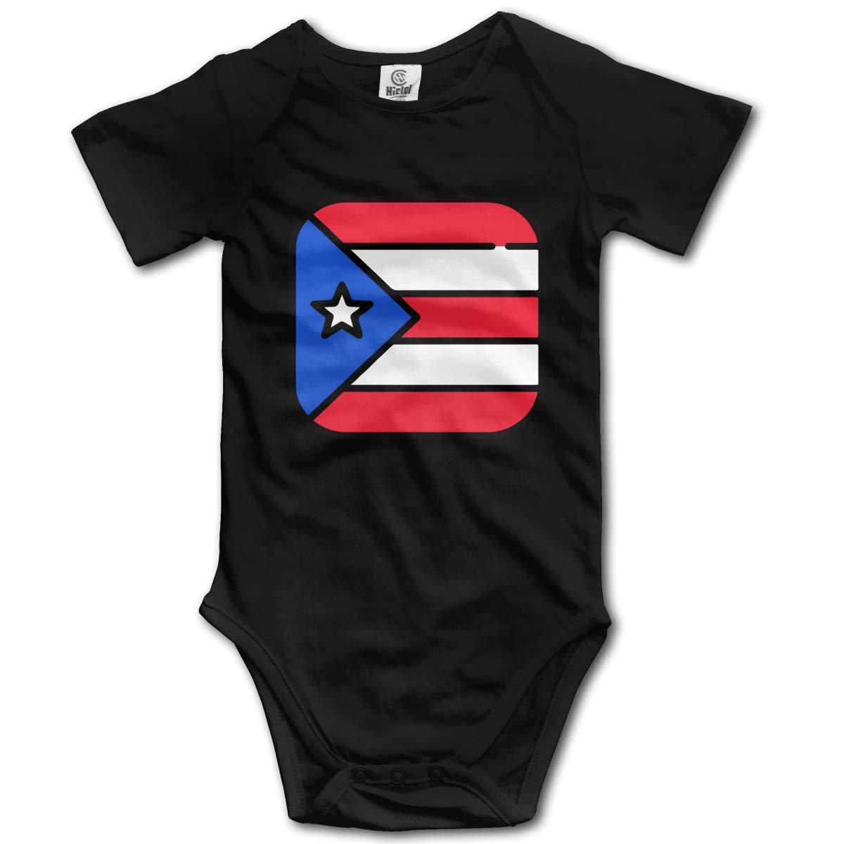 Newborn Puerto Rico Flags 1 Short Sleeve Climbing Clothes Playsuit Suit 6-24 Months