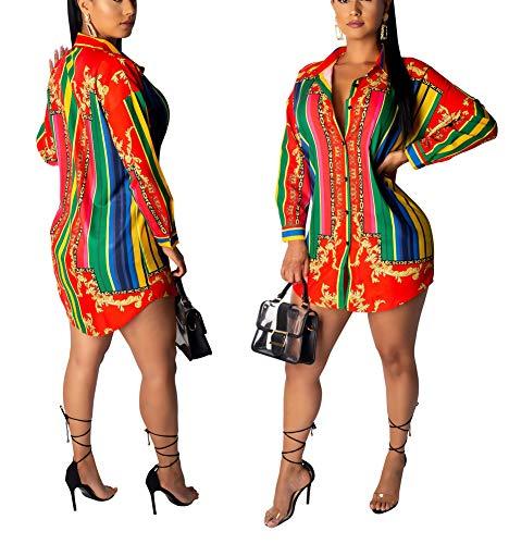 Chain Dress Print - Women's Floral Stripe Print T-Shirt Dress - Button Down Long Sleeve Collar Loose Blouse Tops Mini Dress Red S