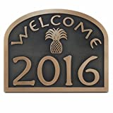 Pineapple Welcome Address Plaque 16x12.6 - Raised Bronze Metal Coated Sign