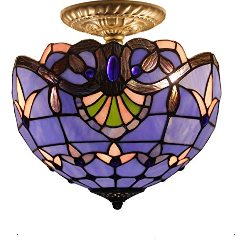 Blue Purple Baroque Tiffany Ceiling Lamp Semi Flush Mount Pendant Hanging Light Fixture 12 Inch Stained Glass Shade for Dinner Room Copper Stained Glass Chandelier