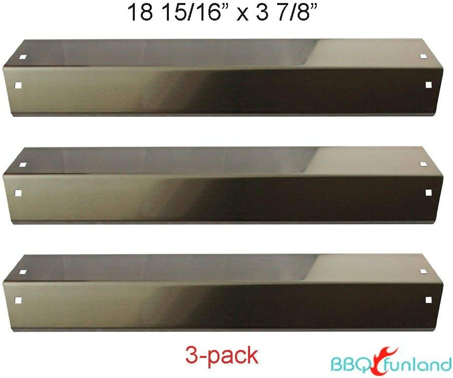 BBQ funland Stainless Steel Heat Plate Shield for Chargriller Gas Grill Models, 3 Pack Chargriller 5050/3001/3030/4000 Gas Grill Flavorizer Bars Burner Cover Replacement Parts