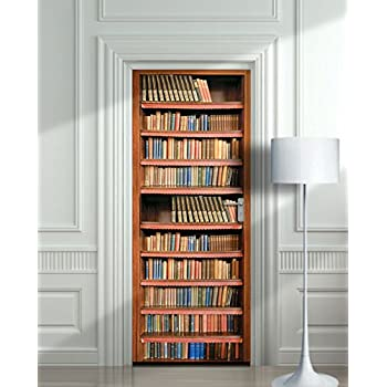 Wall Door STICKER Books Shelfs Bookcase Library Mural Decole Film 30x79