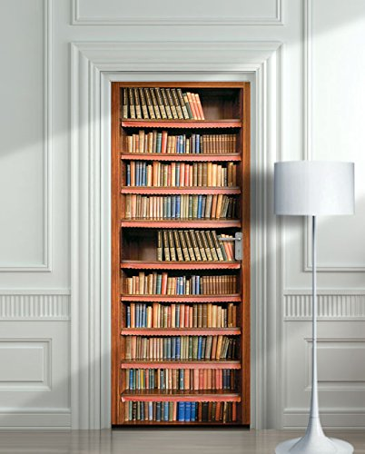 Wall Door STICKER books shelfs bookcase library  mural decole film 30x79\u0026quot; ( & Amazon.com: Wall Door STICKER books shelfs bookcase library  mural ...