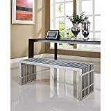 Gridiron Silver Large Stainless Steel Bench by Modway