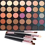 35 Color Eyeshadow Palette with 6 PCS Eye Brushes, Vodisa Makeup Matte and Shimmer Eye Shadows Smoky Warm Color Glitter Kit Make Up Brush Set Waterproof Beauty Cosmetics High Pigment Powder Pallet 35W