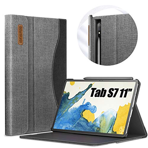 Infiland Case for Samsung Galaxy Tab S7 11 2020, Front support Case with Pocket for Samsung Galaxy Tab S7 11 inch (T870/T875) 2020, Auto Sleep/Wake, Gray