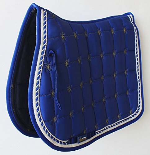 Horse Cotton Quilted All Purpose ENGLISH SADDLE PAD Trail Contoured Blue (English Trail Saddle)