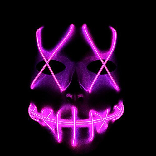 Helengili Frightening EL Wire Halloween Cosplay Led Mask Light Up Mask for Festival Parties 8 Colours (Pink)