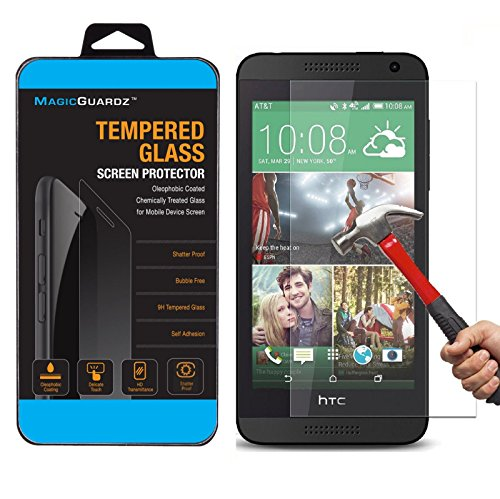 for HTC Desire 610, Premium Real Tempered Glass Screen Protector Shield, Retail Box ()