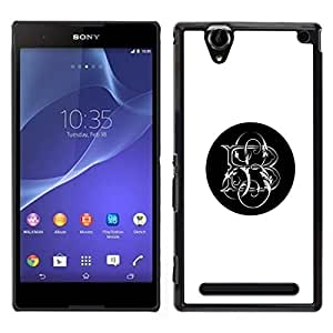 iBinBang / Funda Carcasa Cover Skin Case - Initiales Lettre Noir - Sony Xperia T2 Ultra