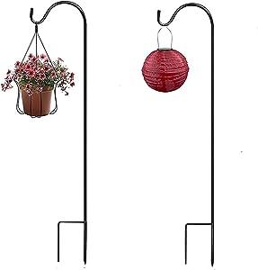 XVZ Shepherds Hook, 2 Pack Adjustable Shepherd Hook, 47 Inch Super Strong Metal Garden Shepherd Hooks for Hanging Birdhouses, Flower Pots, Lanterns, Wedding Decor-Black