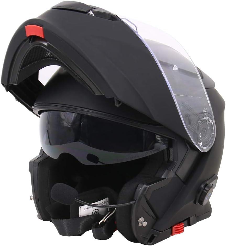 61-62cm Leopard LEO-727 Anti-Fog Visor Motorbike Flip up Bluetooth Helmet Motorcycle Double Visor Pinlock Lens Matt Black//Red XL