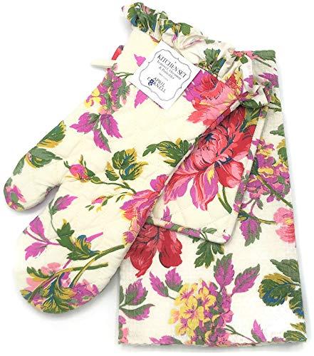 April Cornell Greta's Garden Ecru Floral Tea Towel, Oven Mitt & Potholder 3-Piece Kitchen Set
