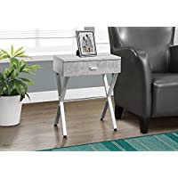 Monarch Specialties I 3264 Grey Cement/Chrome Metal Night Stand Accent Table