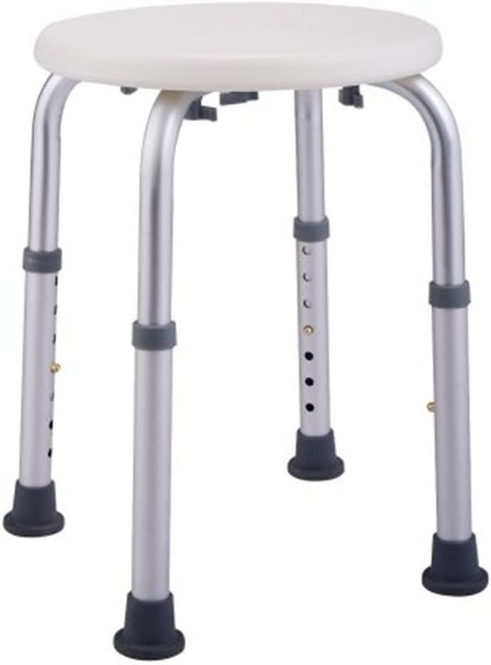 Azadx Shower Bath Chair No-Slip Seat, 8 Levels Round Adjustable Height Removable Bathtub Seat Benches, Aluminium Alloy Shower Stool for Safety and Stability