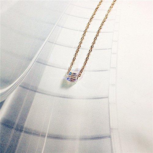Womens Sugar Cube - TKHNE 18k rose gold necklace pendant Austrian crystal jewelry Aurora sugar cube necklace pendant women girls short paragraph clavicle chain