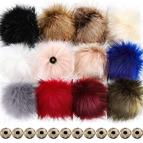Boao 12 Pieces Faux Fox Fur Fluffy Pompom Ball with Removable Press Button for Detachable Knit Hats Clothing Accessories