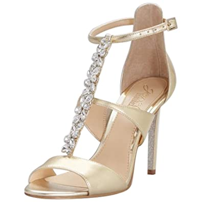 9e1d396c21 David's Bridal Jeweled T-Strap Metallic Ankle-Strap Heels Style JWMICA,  Gold,