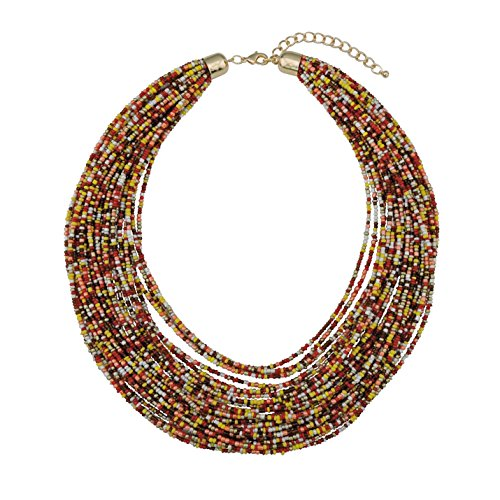 (Bocar Multi Layer Chunky Bib Statement Seed Beads Cluster Collar Necklace for Women Gift (NK-10351-lemon Curry))
