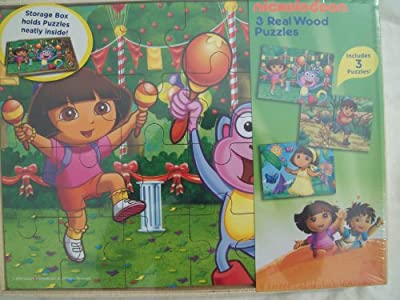 Nickelodeon 3 Real Wood Puzzles - Dora, Boots and Diego - 24 Pieces Each by Cardinal Industries