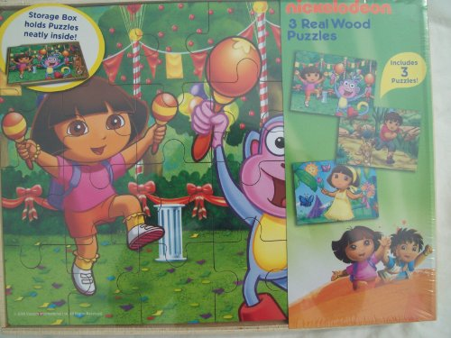 [Nickelodeon 3 Real Wood Puzzles - Dora, Boots and Diego - 24 Pieces Each by Cardinal Industries] (Dora Diego And Boots)