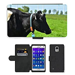 PU LEATHER case coque housse smartphone Flip bag Cover protection // M00108628 Vaca Negro Pied leche de vaca Pasto // Samsung Galaxy Note 4 IV