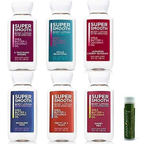 Bath & Body Works Super Smooth Lotion Travel Mini Set - A Thousand Wishes, Hello Beautiful, Japanese Cherry Blossom, Moonlight Path, Pretty as a Peach & Sweet Pea Set of -