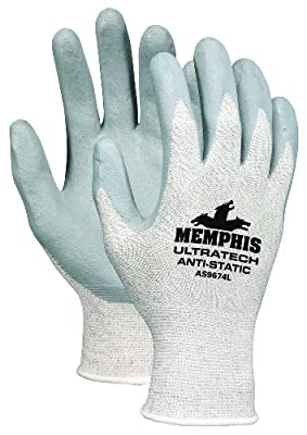 MCR Safety AS9674M UltraTech Anti-static Silver/Nylon Shell Gloves with Nitrile Dipped Palm and Fingers, Gray/White, Medium, 1-Pair
