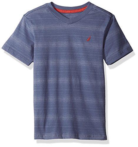 Nautica Short Sleeve Stripe V Neck