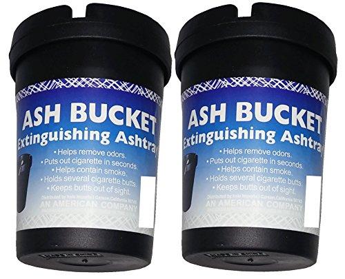 Ash Bucket (2 Pack Extinguishing Car Cigarette Ashtray Butt Bucket Portable Ashtray Smoking Accessory Auto Truck Home Office Beach Black