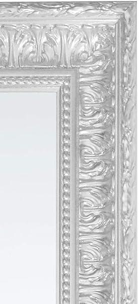 Made in Italy. Misura cm 67x167 Specchio da Parete con Cornice Foglia Argento posizionabile Sia in Verticale Che in Orizzontale