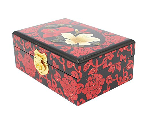 Ancient Craft Freehand Lacquer Ware Red big Jewelry Box,Hand Drawing Chinese Style Handmade Necklace Box for Women