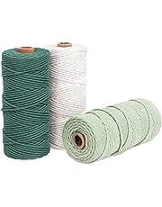 Navaris Macrame koord 3mm x 100m (set van 3 rollen) - touw gemaakt van 100% natuurlijk katoen voor wandhangers en plantenhangers - donkergroen, salie, gebroken wit