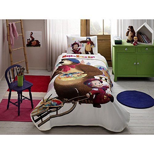 - 3-Piece Masha and the Bear Watercolour Licensed Cartoons Bedspread Coverlet (Pique) Set, 100% Pure Cotton Luxury, Children Teenager Single Size